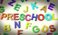 Preschool spelled out in magnetic letters